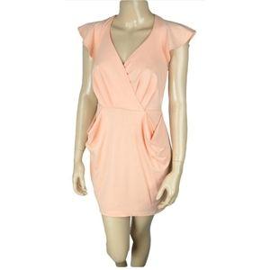 BCBGeneration - Coral Wrap Surplice Cocktail Dress